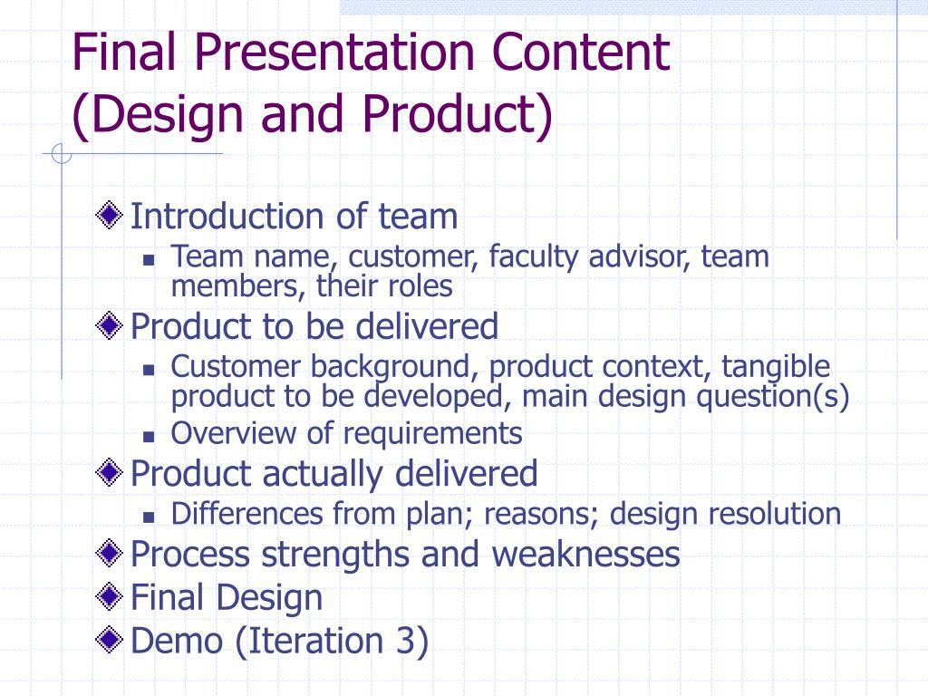 Final Presentation Content