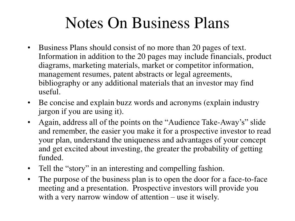 Notes On Business Plans
