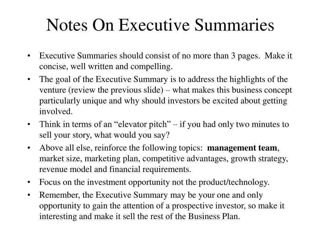 Notes On Executive Summaries