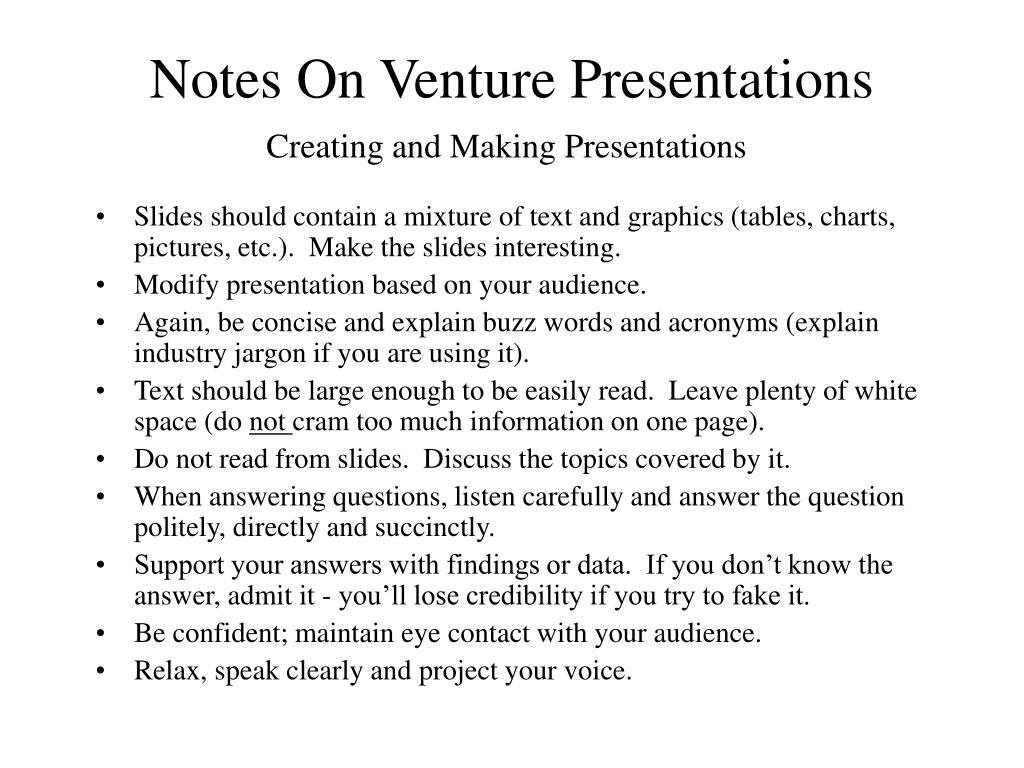 Notes On Venture Presentations