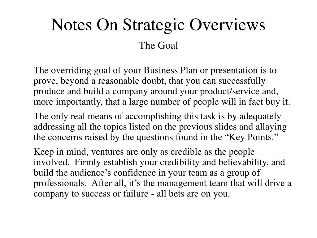 Notes On Strategic Overviews