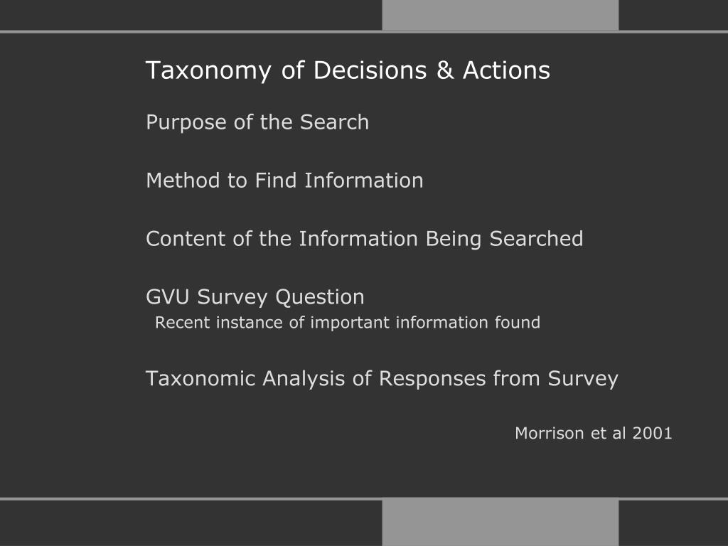 Taxonomy of Decisions & Actions