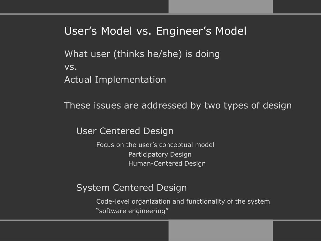 User's Model vs. Engineer's Model