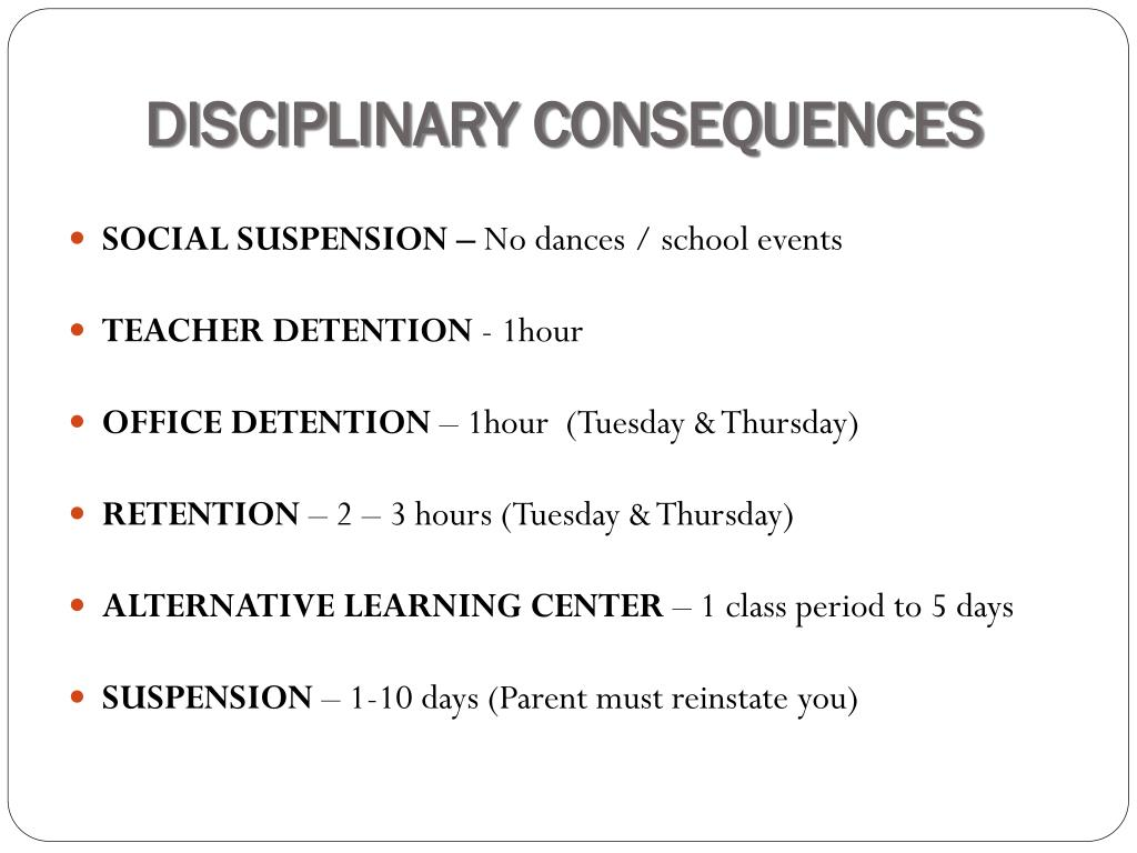 DISCIPLINARY CONSEQUENCES