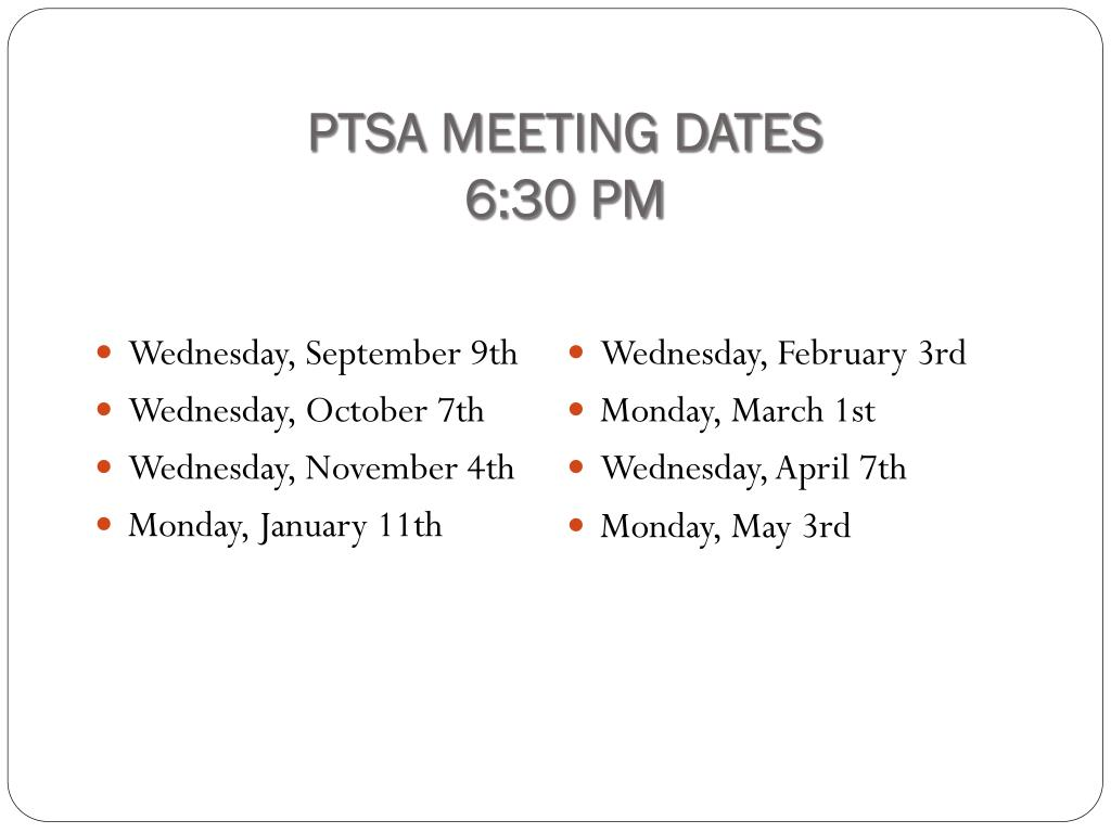 PTSA MEETING DATES