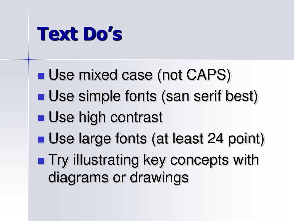 Text Do's