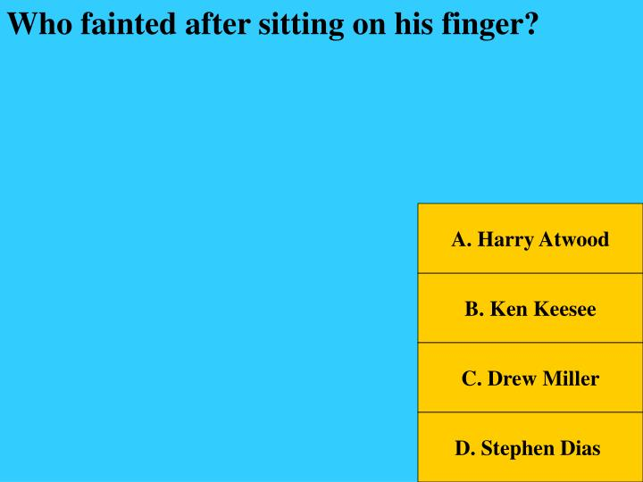 Who fainted after sitting on his finger?