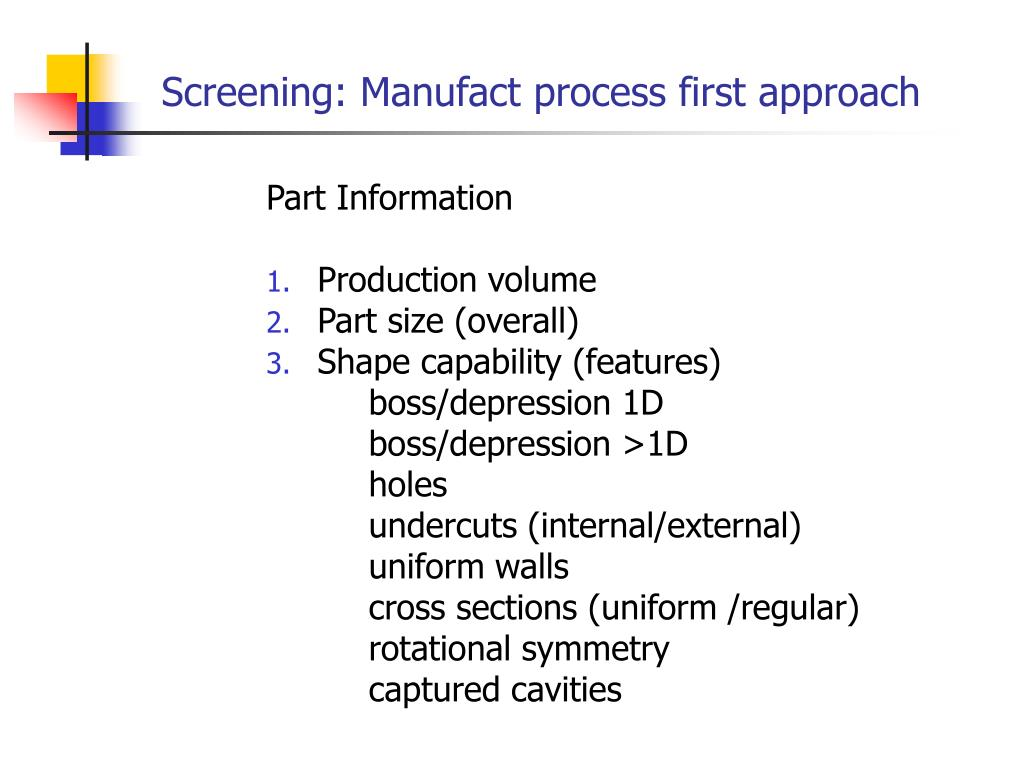Screening: Manufact process first approach