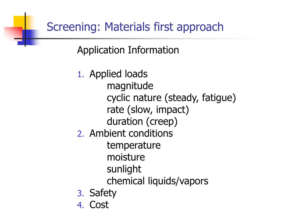 Screening: Materials first approach