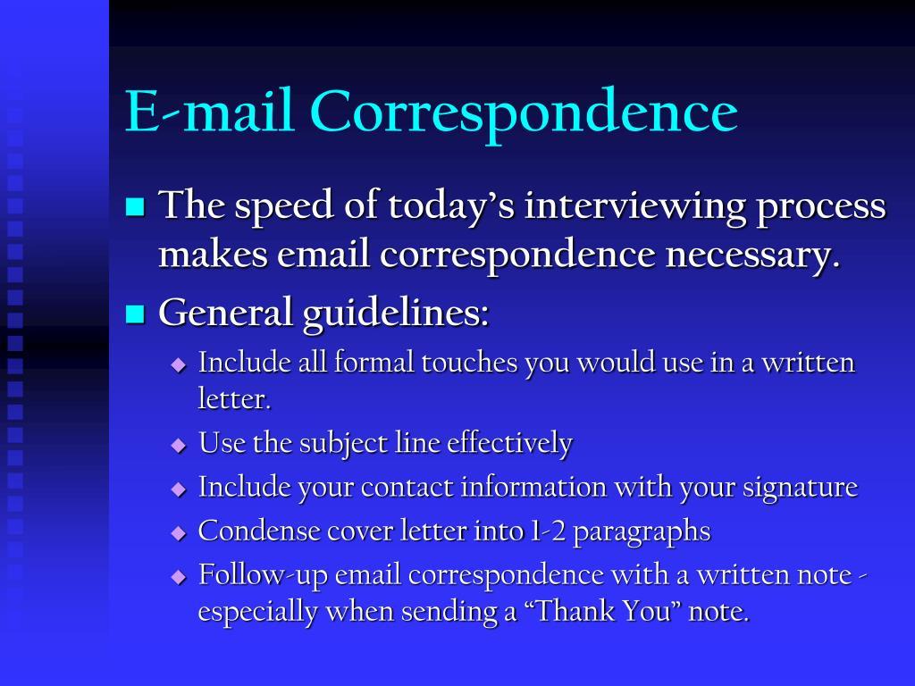 E-mail Correspondence
