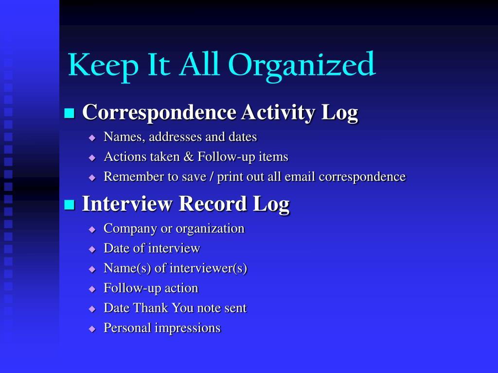 Correspondence Activity Log