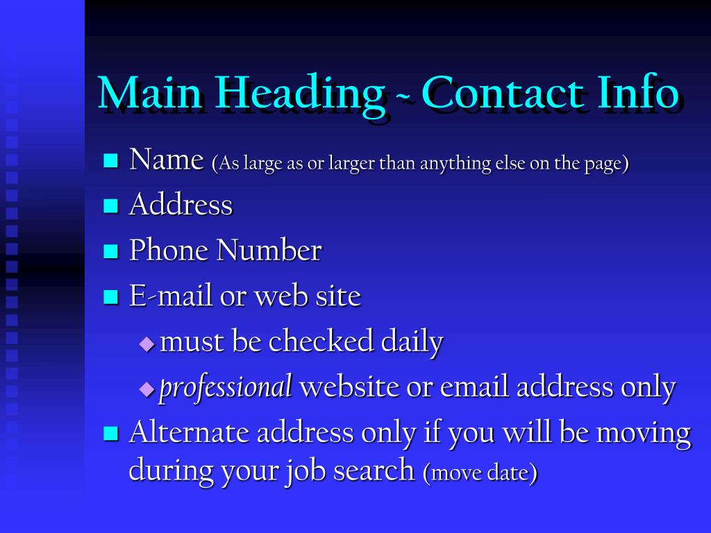 Main Heading ~ Contact Info