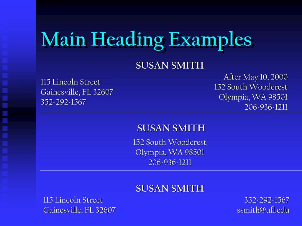 Main Heading Examples