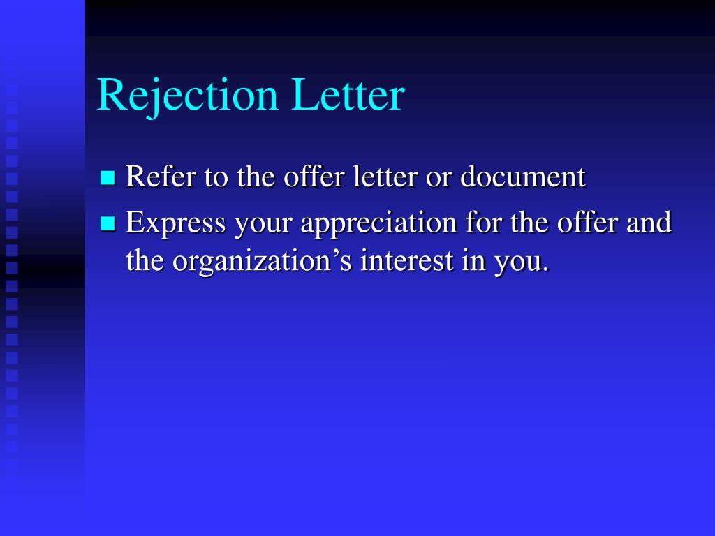 Rejection Letter