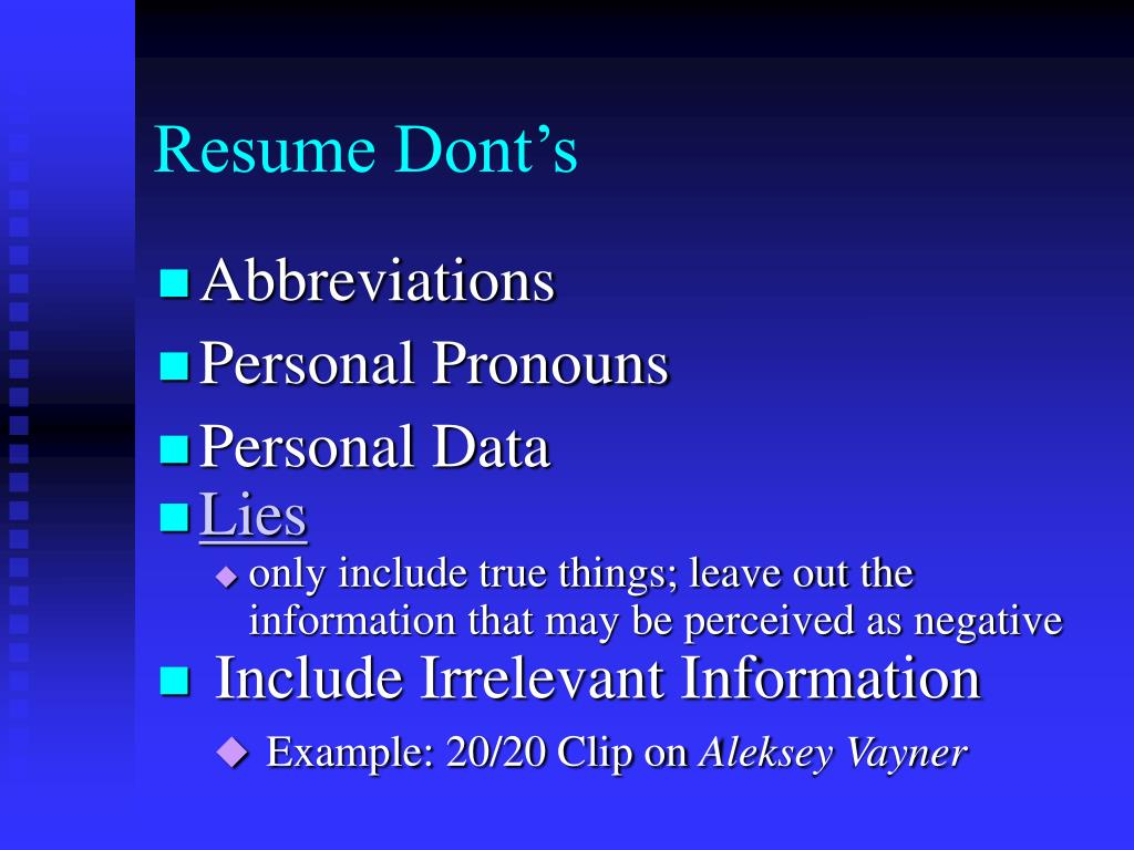 Resume Dont's