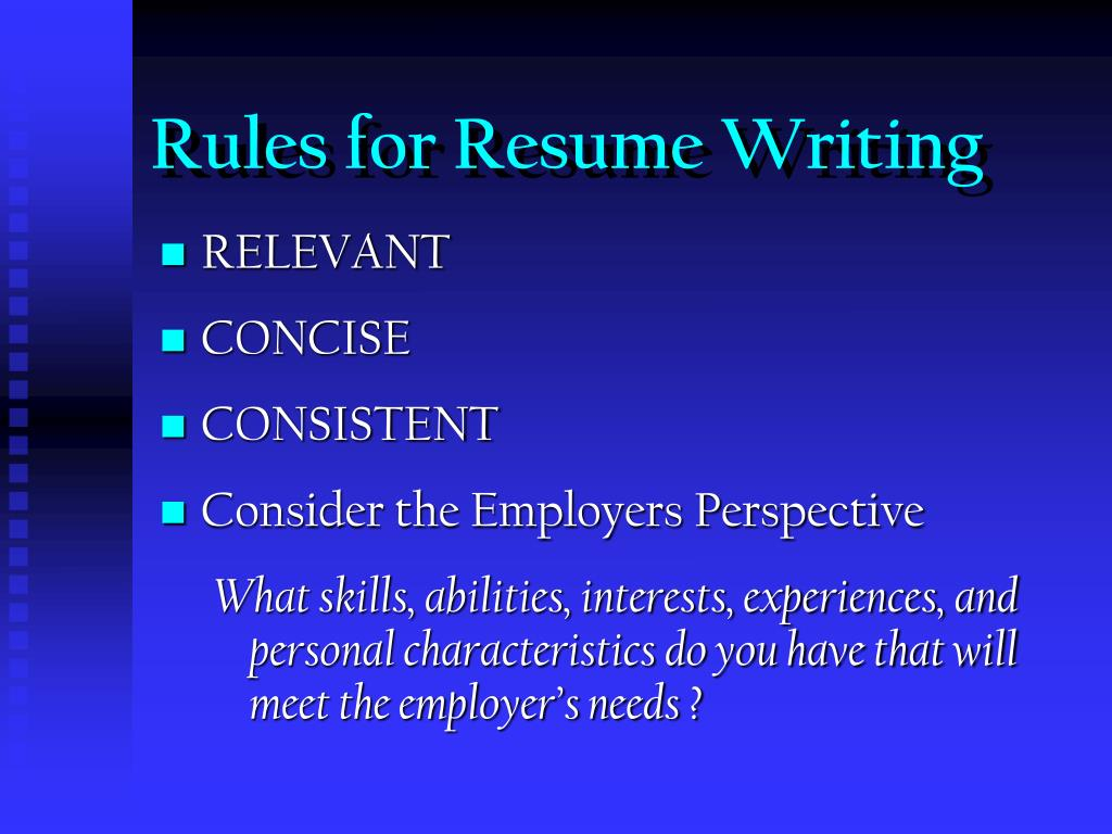 Rules for Resume Writing