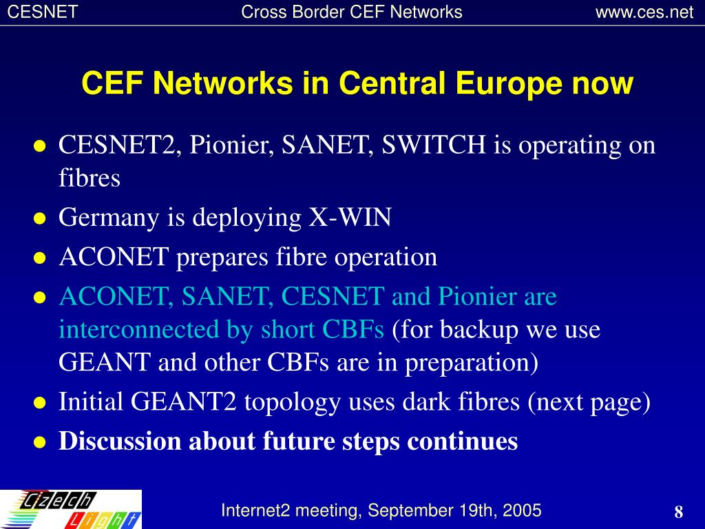 CEF Networks in Central Europe now