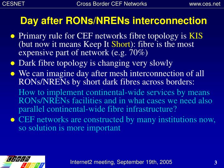 Day after rons nrens inter connection
