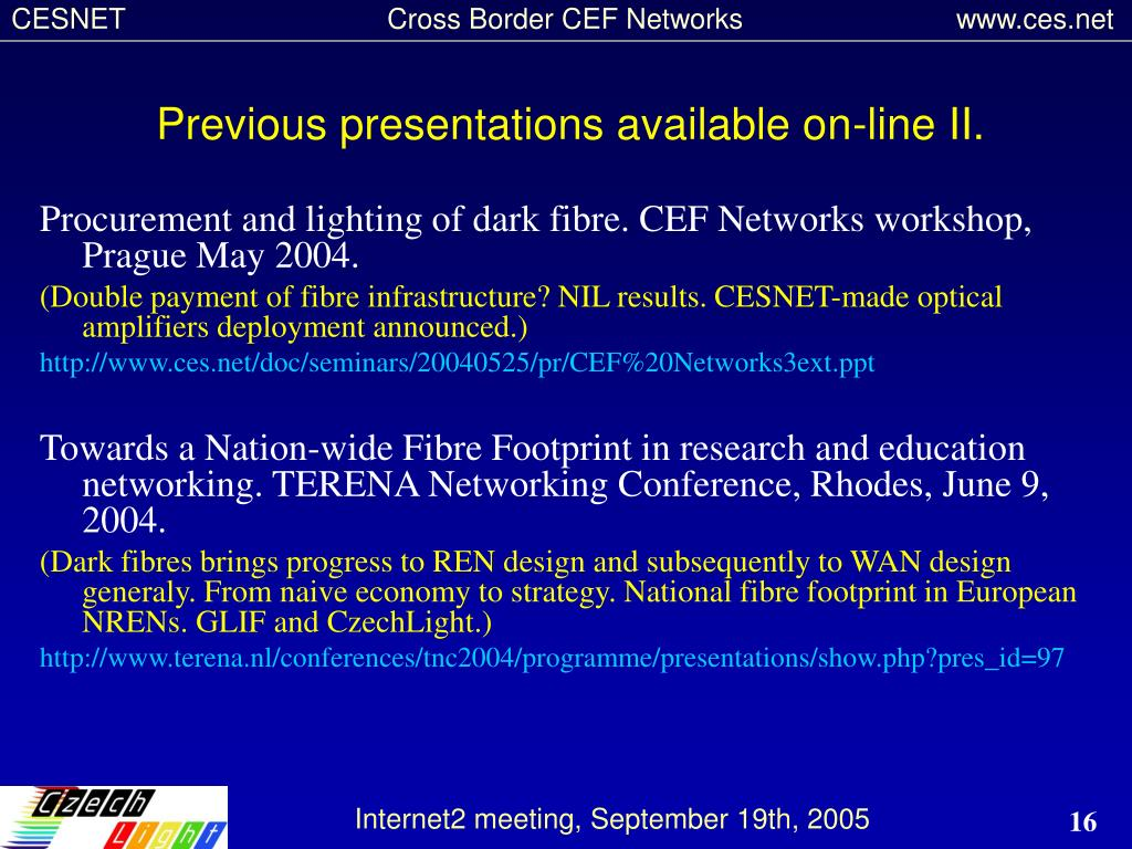 Previous presentations available on-line II.