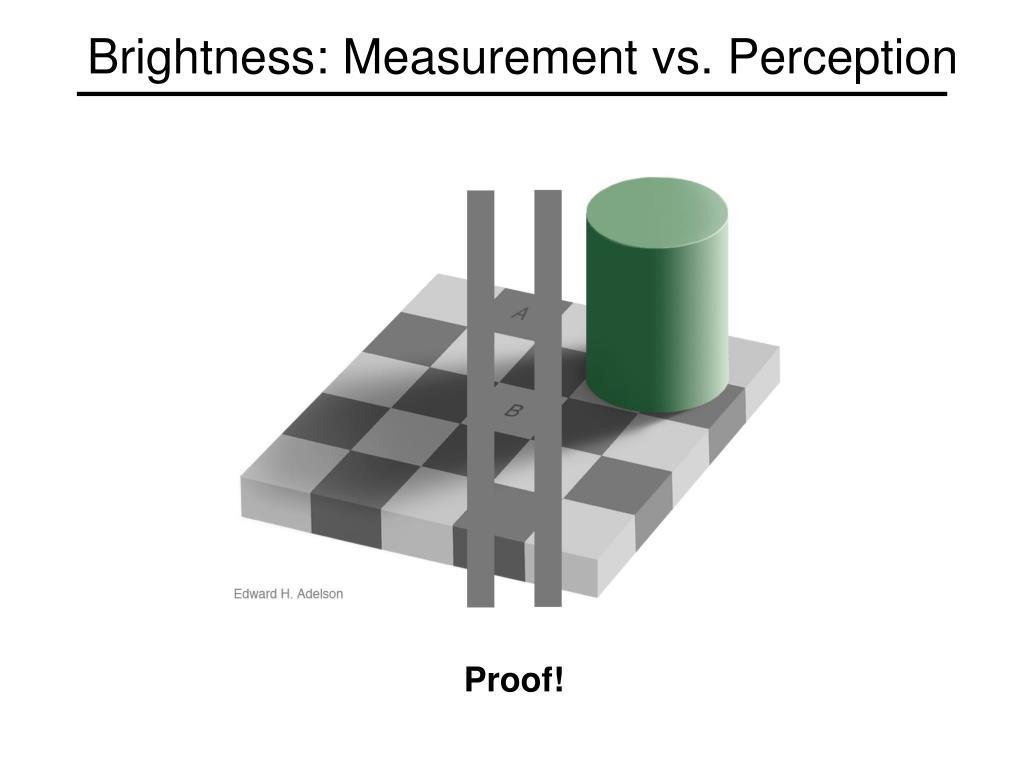 Brightness: Measurement vs. Perception