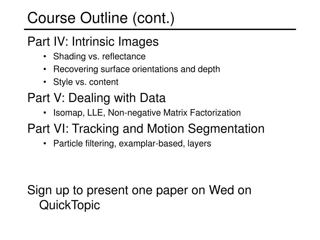 Course Outline (cont.)