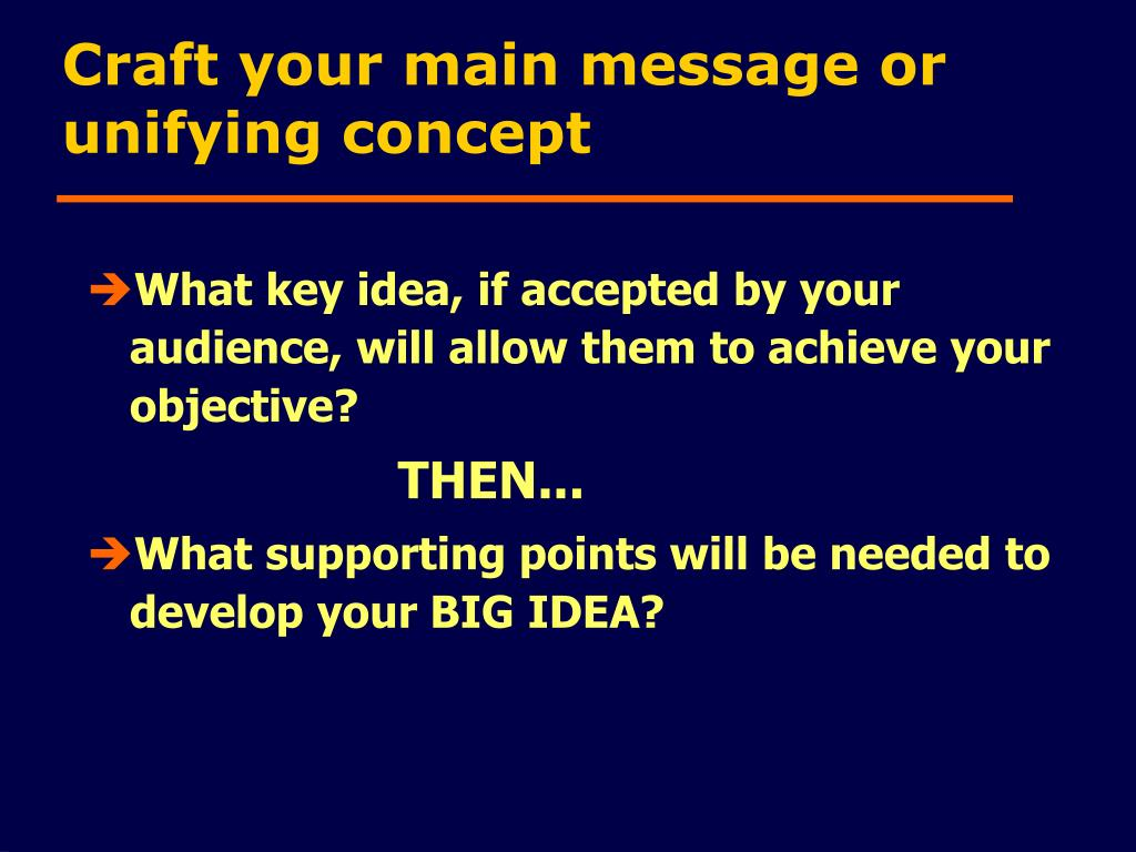 Craft your main message or unifying concept