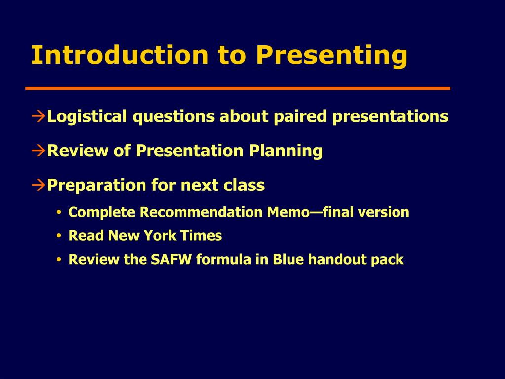 Introduction to Presenting