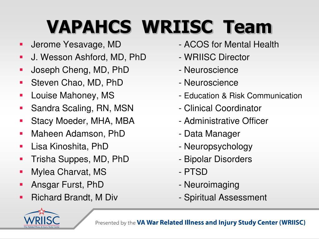 VAPAHCS  WRIISC  Team