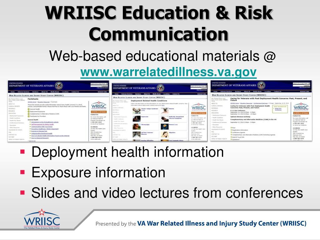 WRIISC Education & Risk Communication