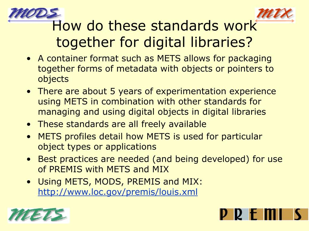How do these standards work together for digital libraries?