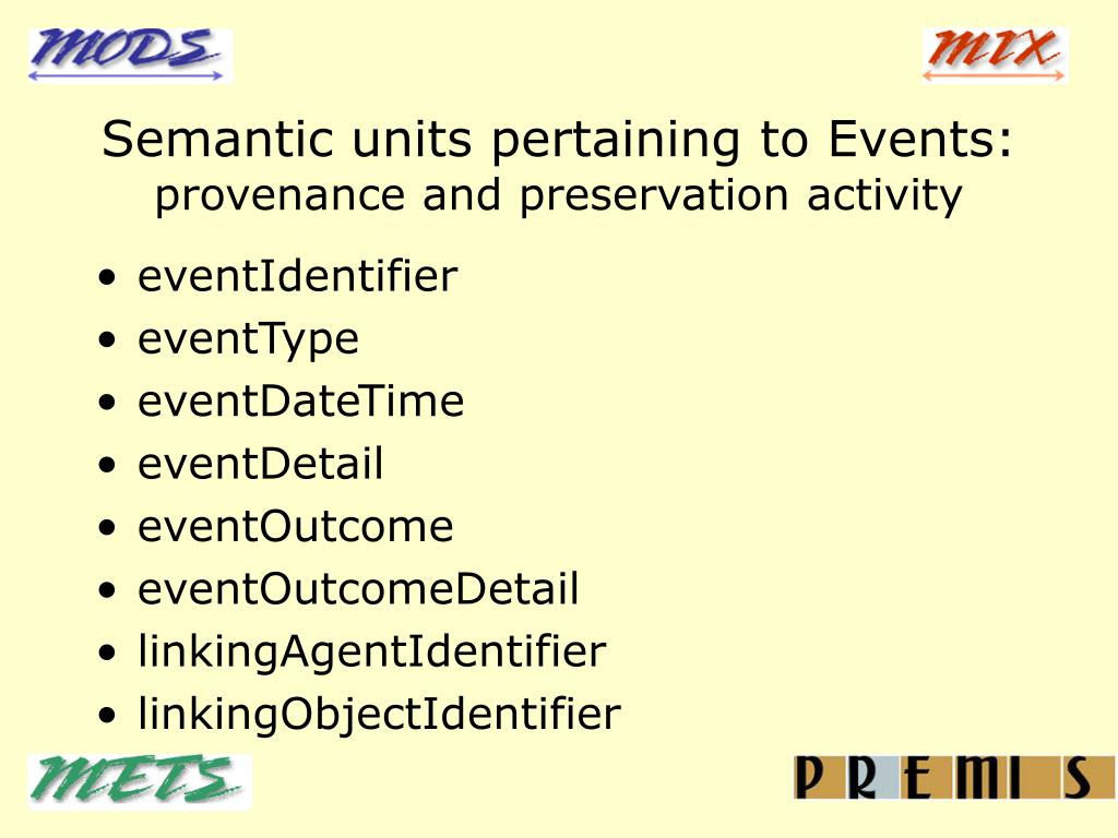 Semantic units pertaining to Events: