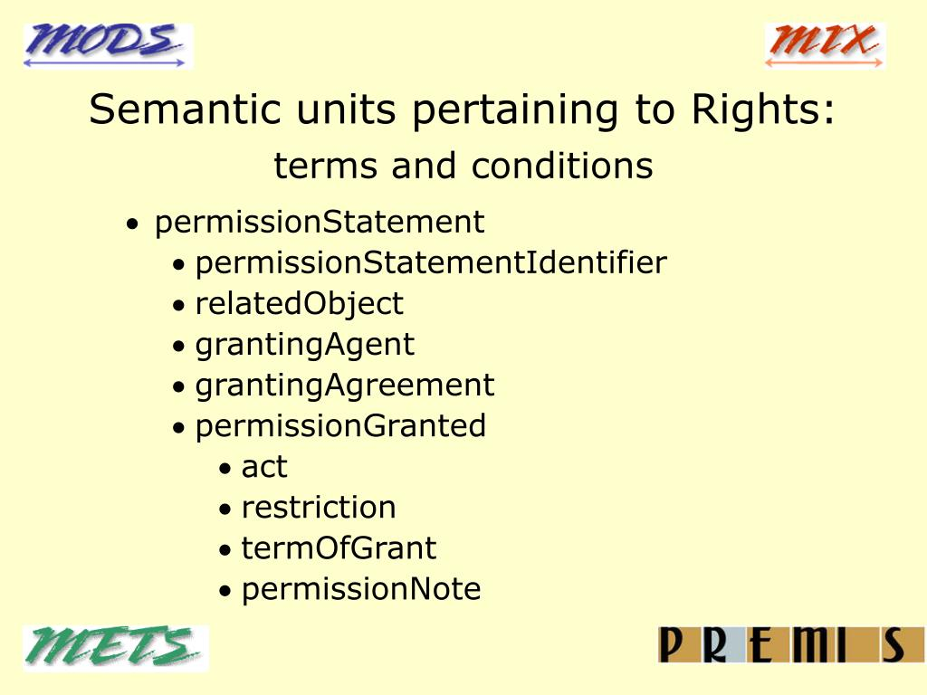 Semantic units pertaining to Rights:
