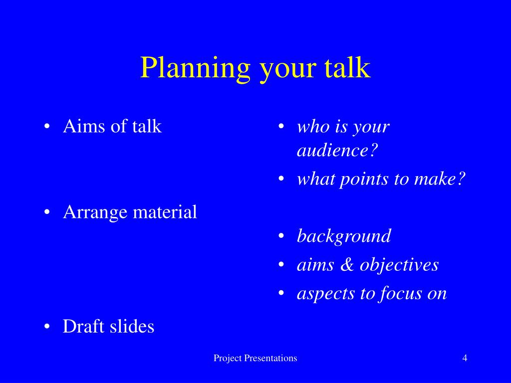Aims of talk