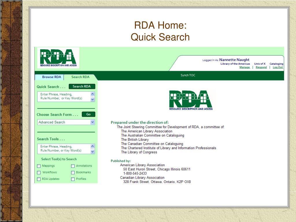 RDA Home: