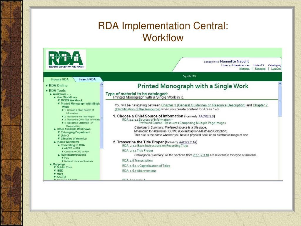 RDA Implementation Central: