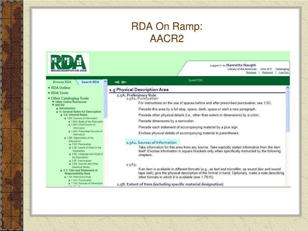 RDA On Ramp: