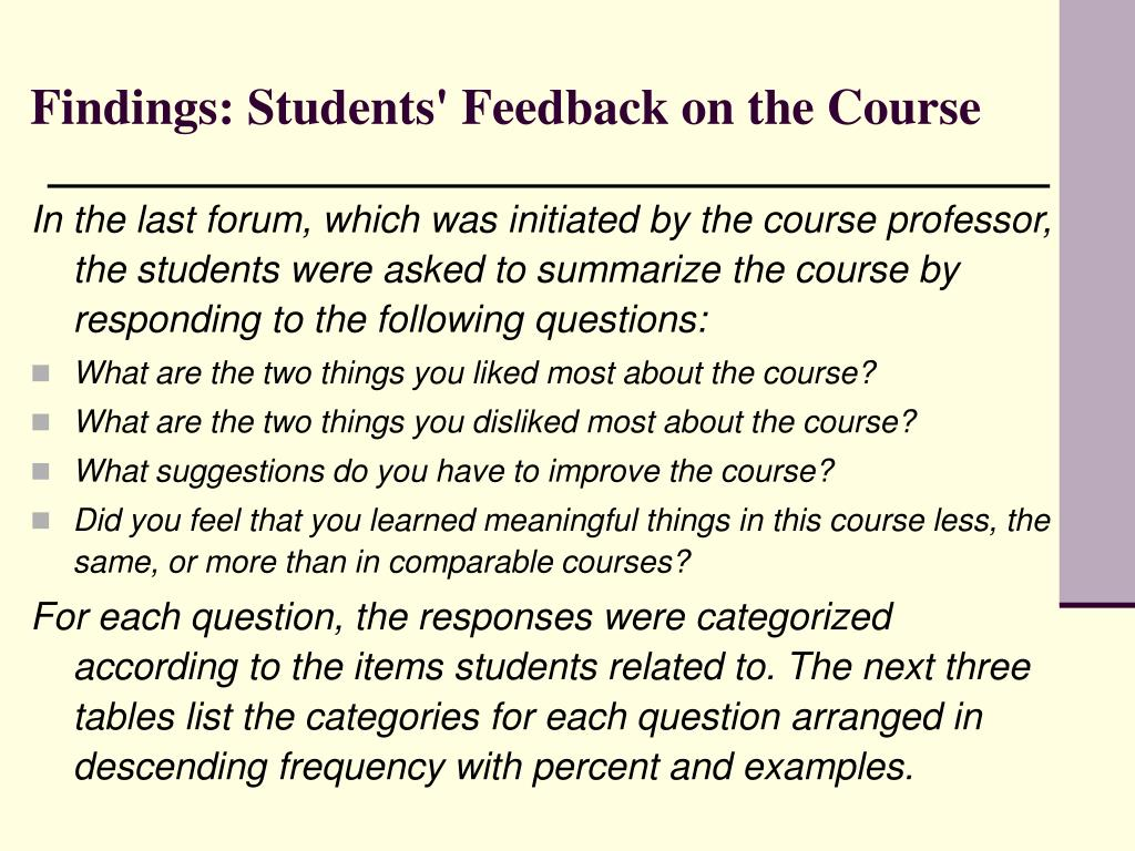 Findings: Students' Feedback on the Course