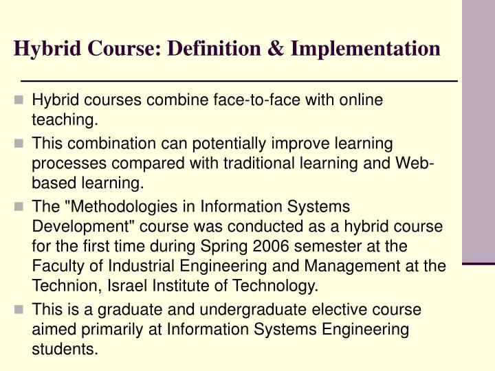 Hybrid course definition implementation