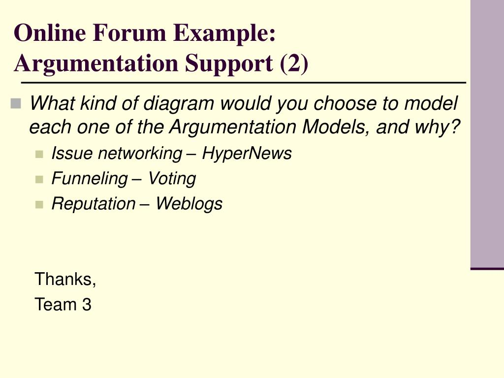 Online Forum Example: Argumentation Support (2)