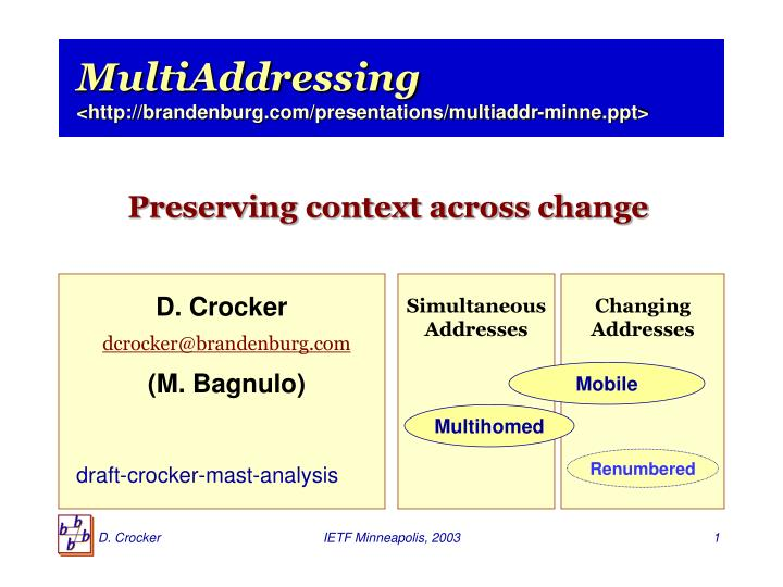 Multiaddressing http brandenburg com presentations multiaddr minne ppt