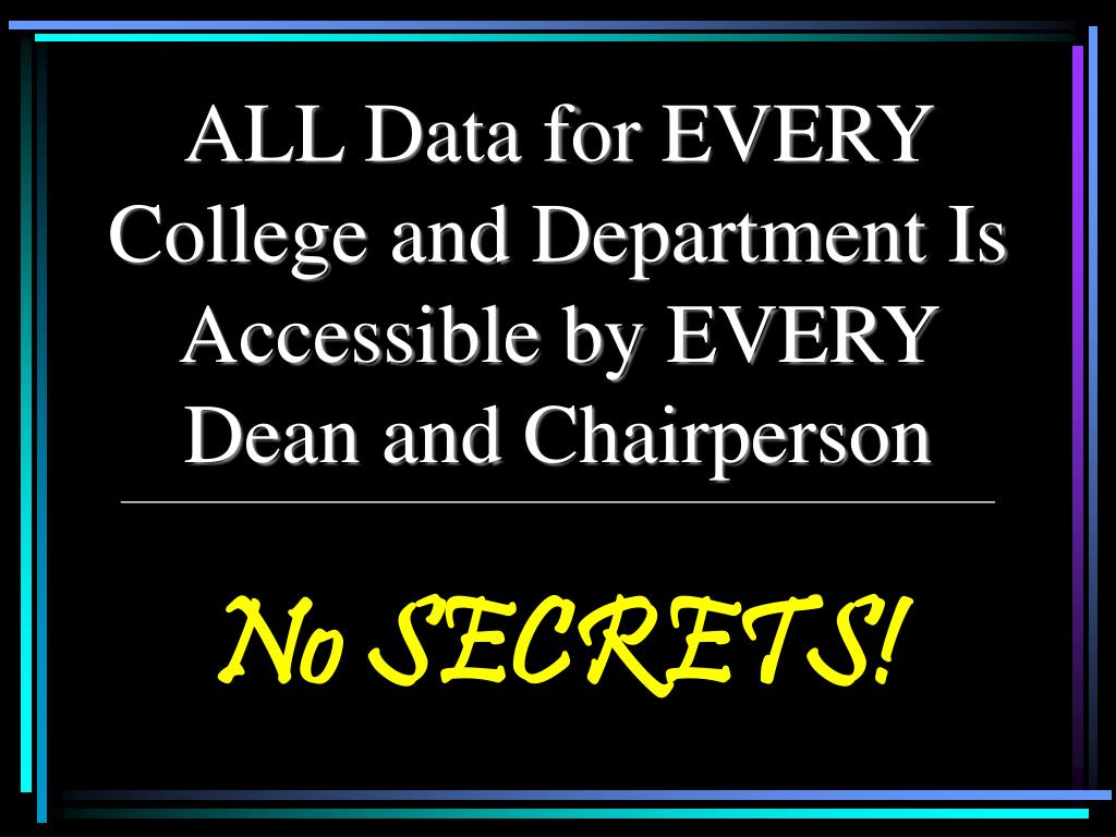 ALL Data for EVERY College and Department Is Accessible by EVERY