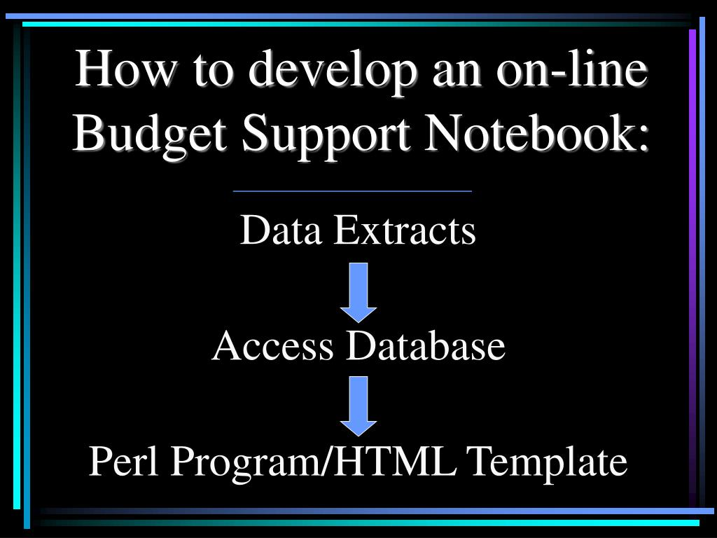 How to develop an on-line Budget Support Notebook: