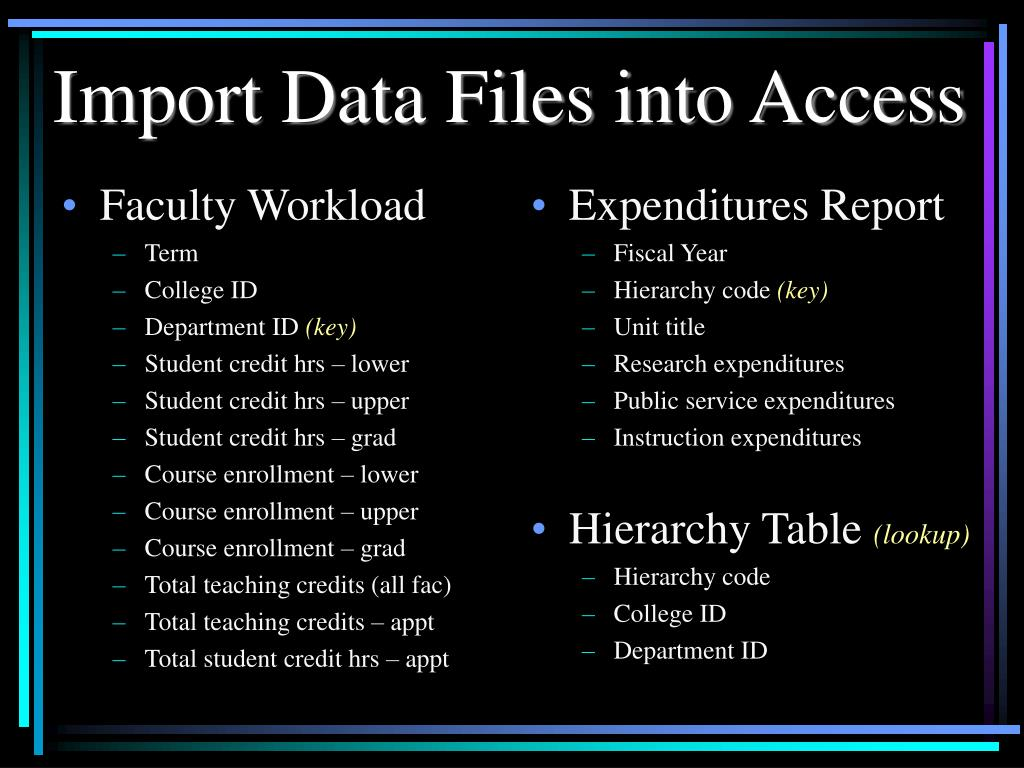 Import Data Files into Access