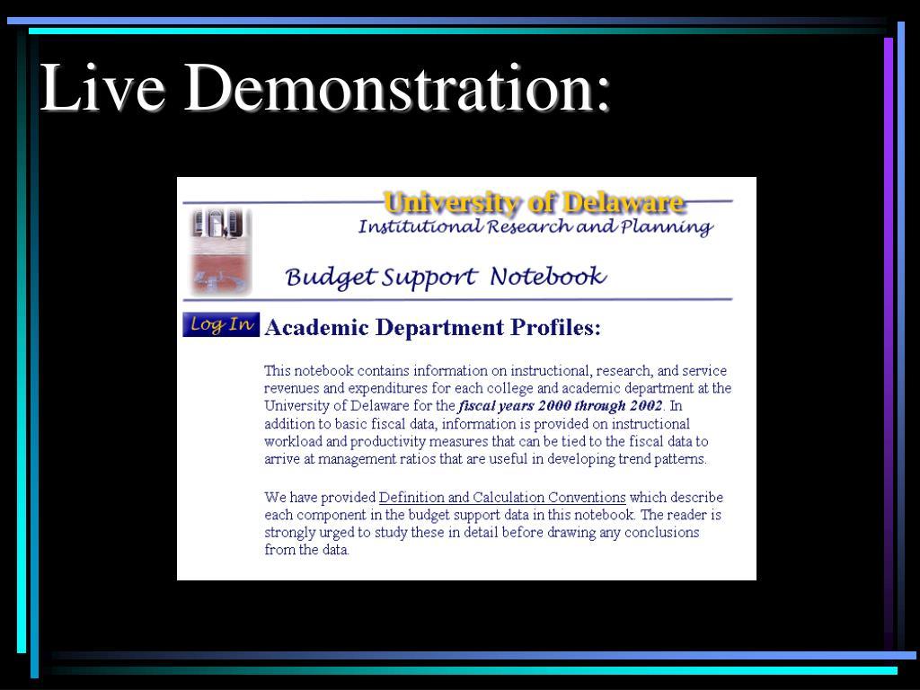 Live Demonstration: