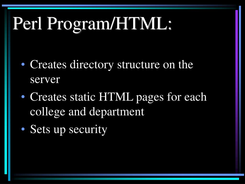 Perl Program/HTML: