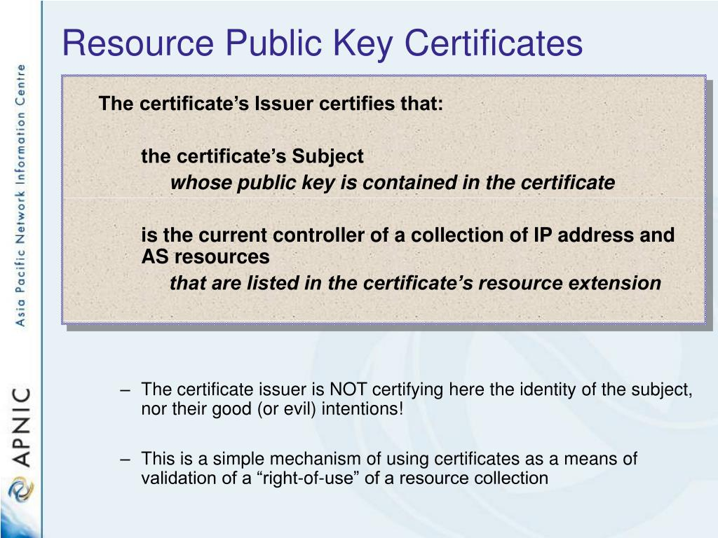 Resource Public Key Certificates