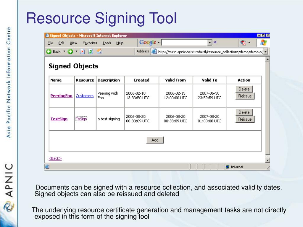 Resource Signing Tool