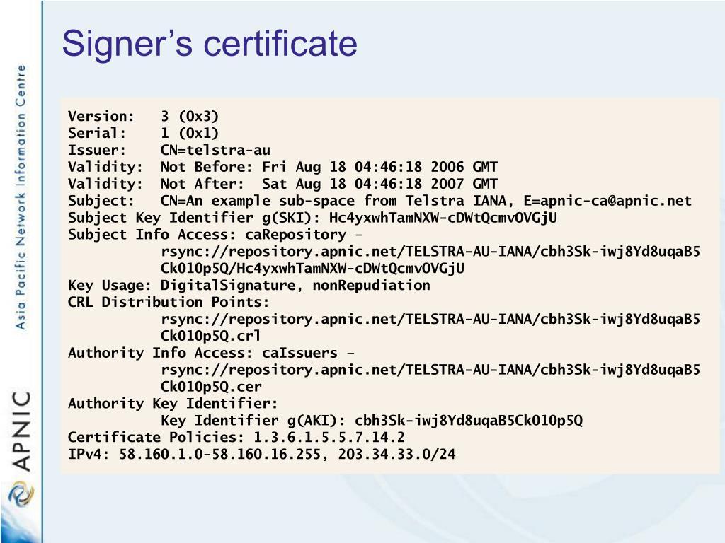 Signer's certificate