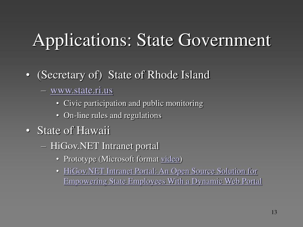 Applications: State Government