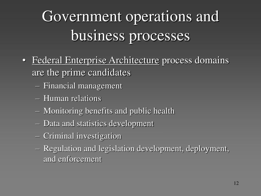 Government operations and business processes